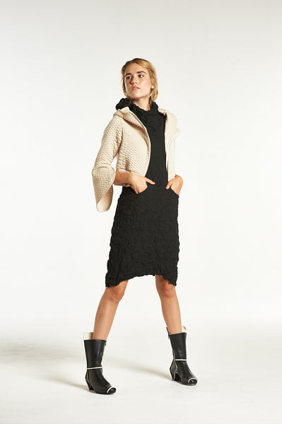 Moth Hoodie Dress in Black Microfiber