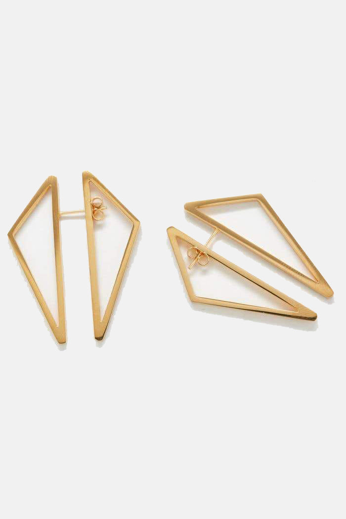 Double Sided Gold Geometric Triangle Earrings
