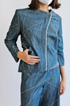 Scribble Asymmetrical Jean Jacket (Made to Order)