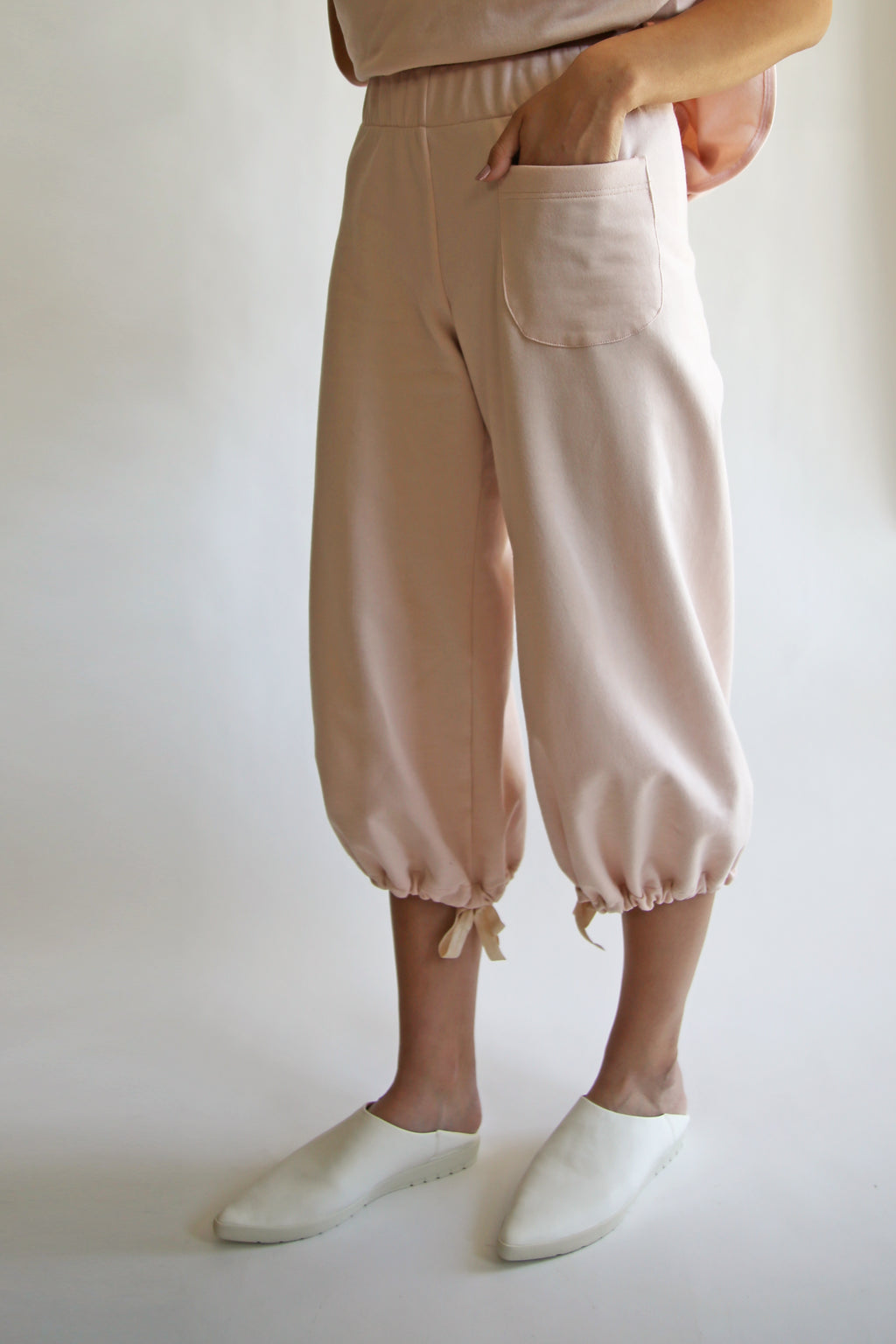 Boba Pants in Peaceful Pink Organic Fleece
