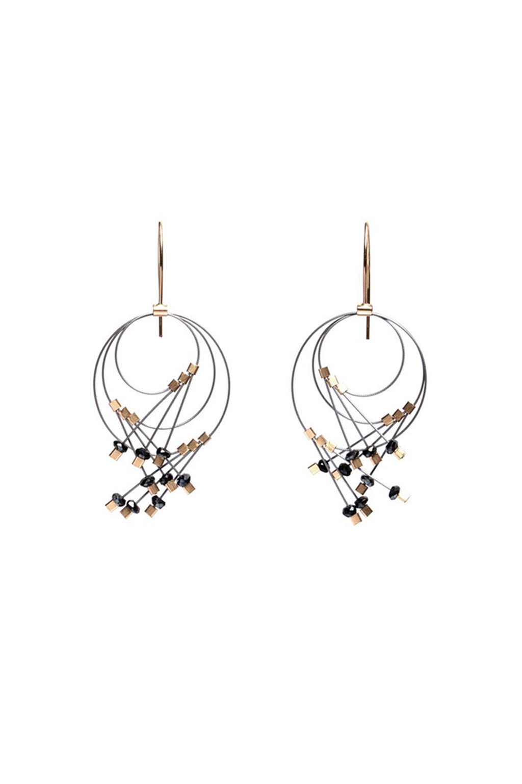 Vertigo Earrings in Spinel/Gunmetal
