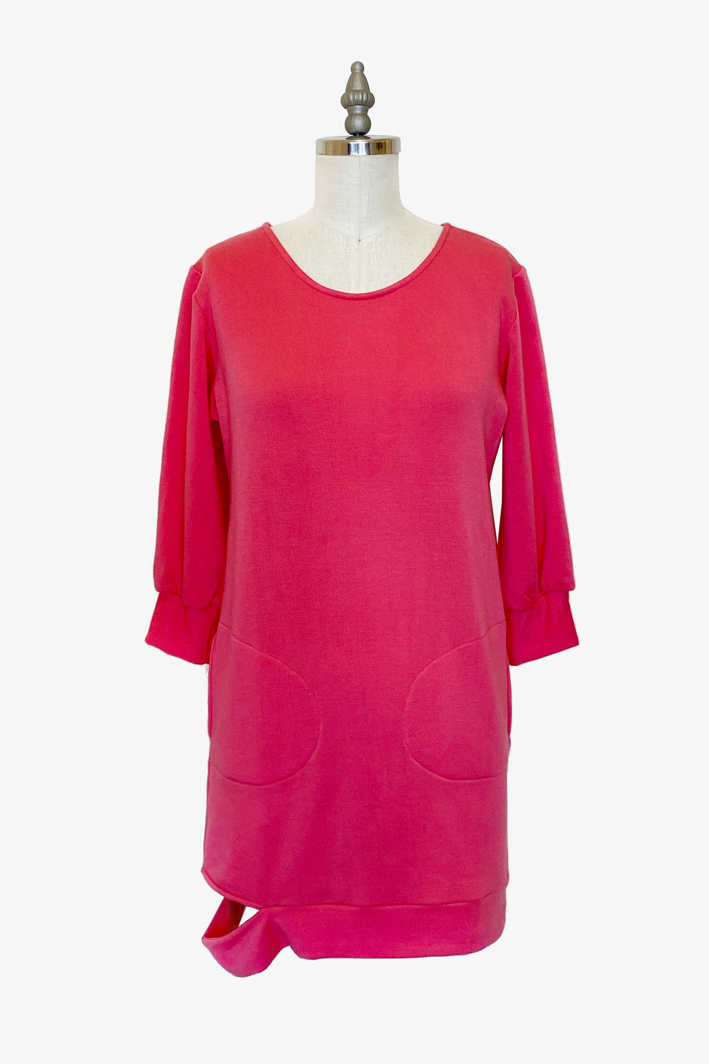 3/4 Hugo Dress in Electric Pink Organic Fleece
