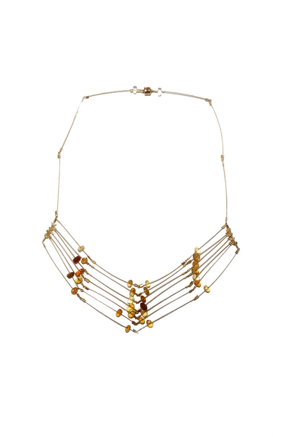 Faceted Necklace in Citrine/Gold