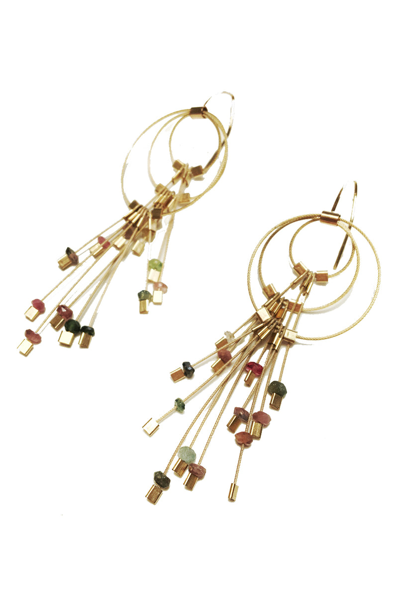 Large Aerial Hooks in Tourmaline/Gold