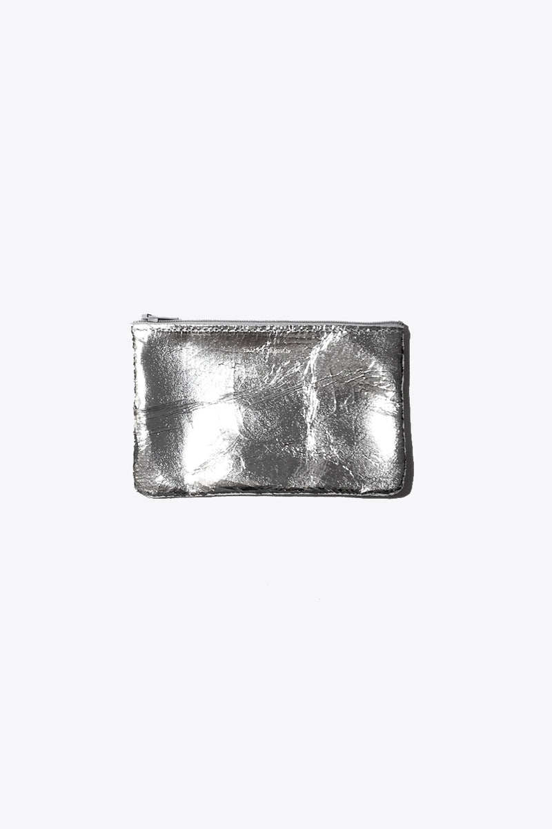 Leather Pouches in Silver Foil