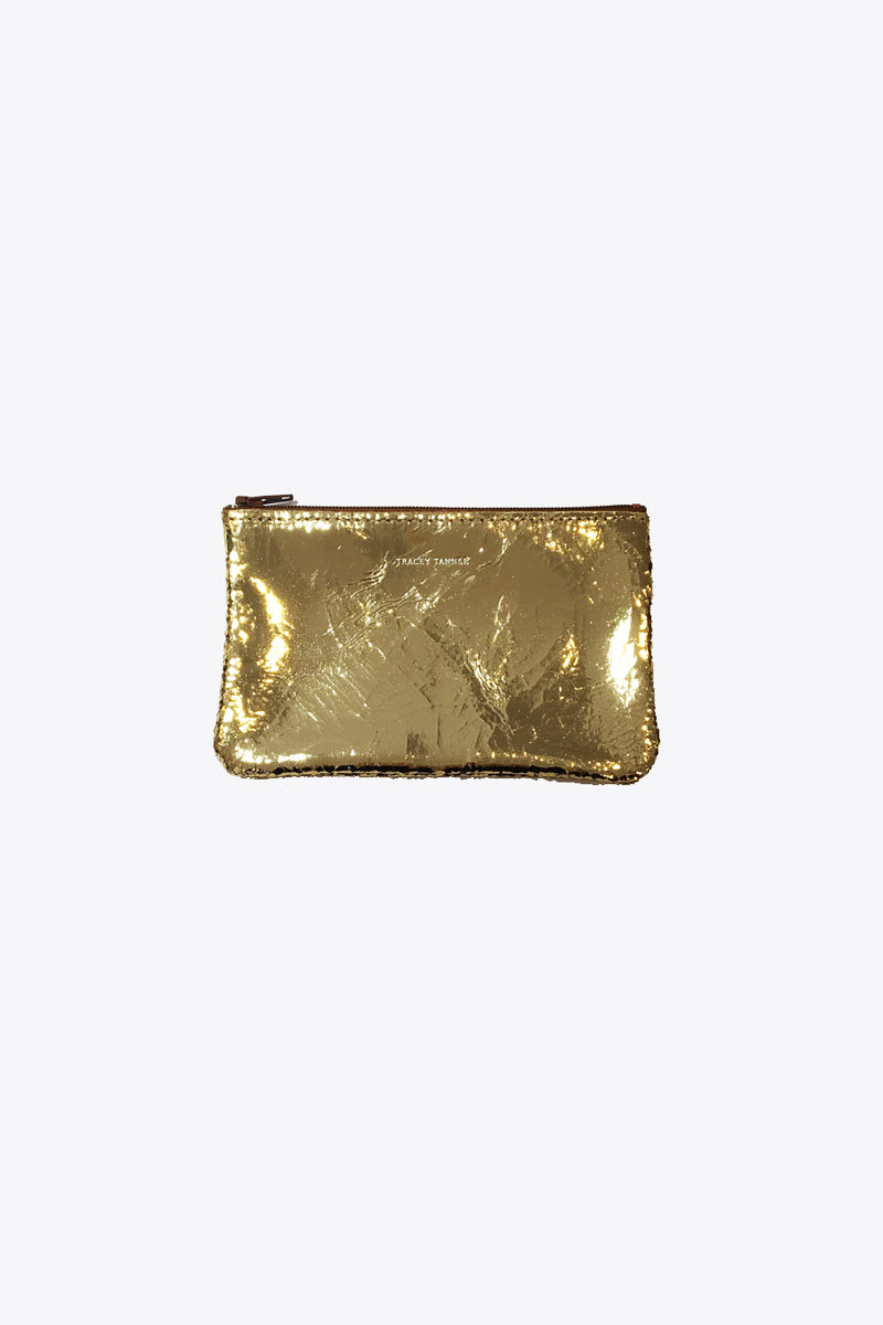 Leather Pouches in Gold Foil
