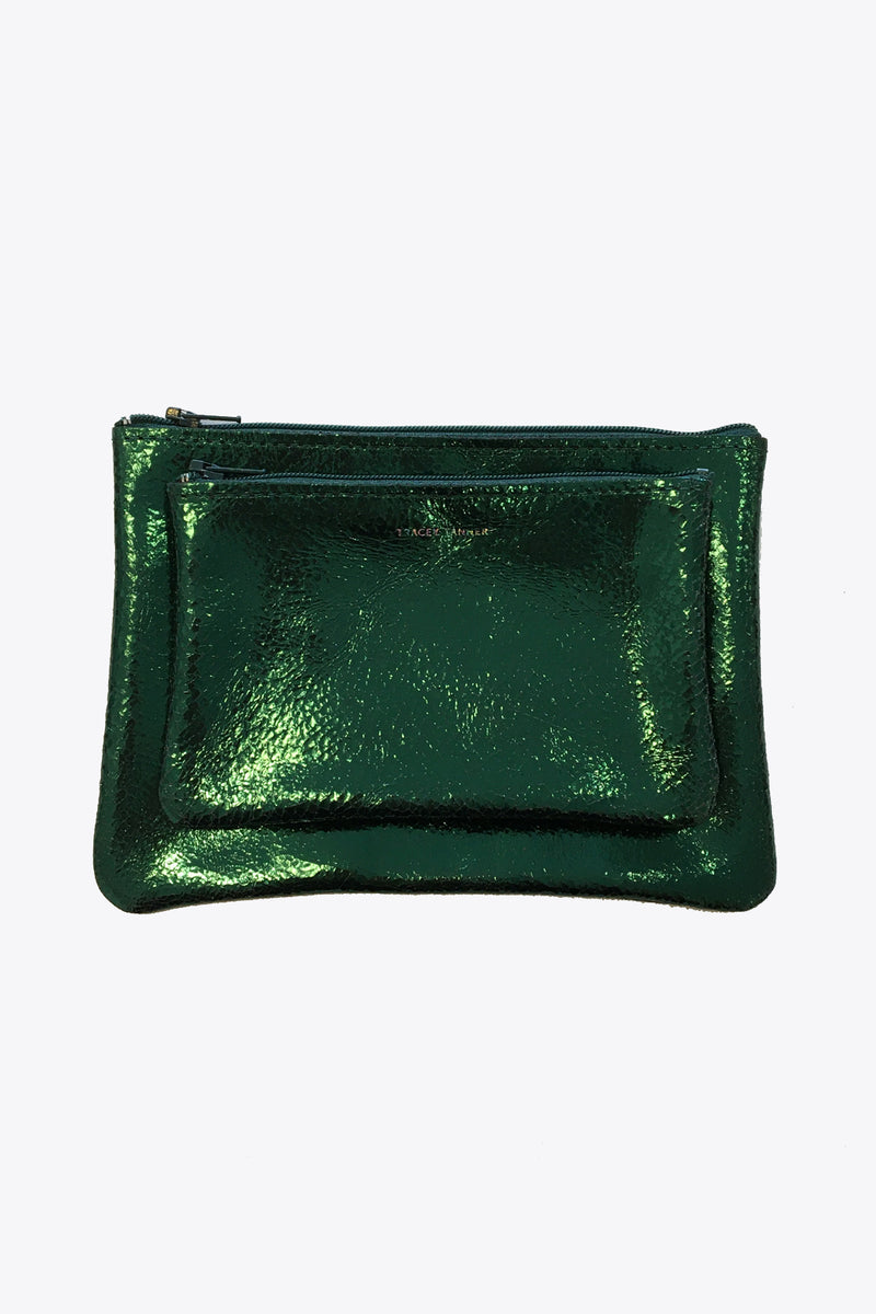 Leather Pouches in Distressed Emerald
