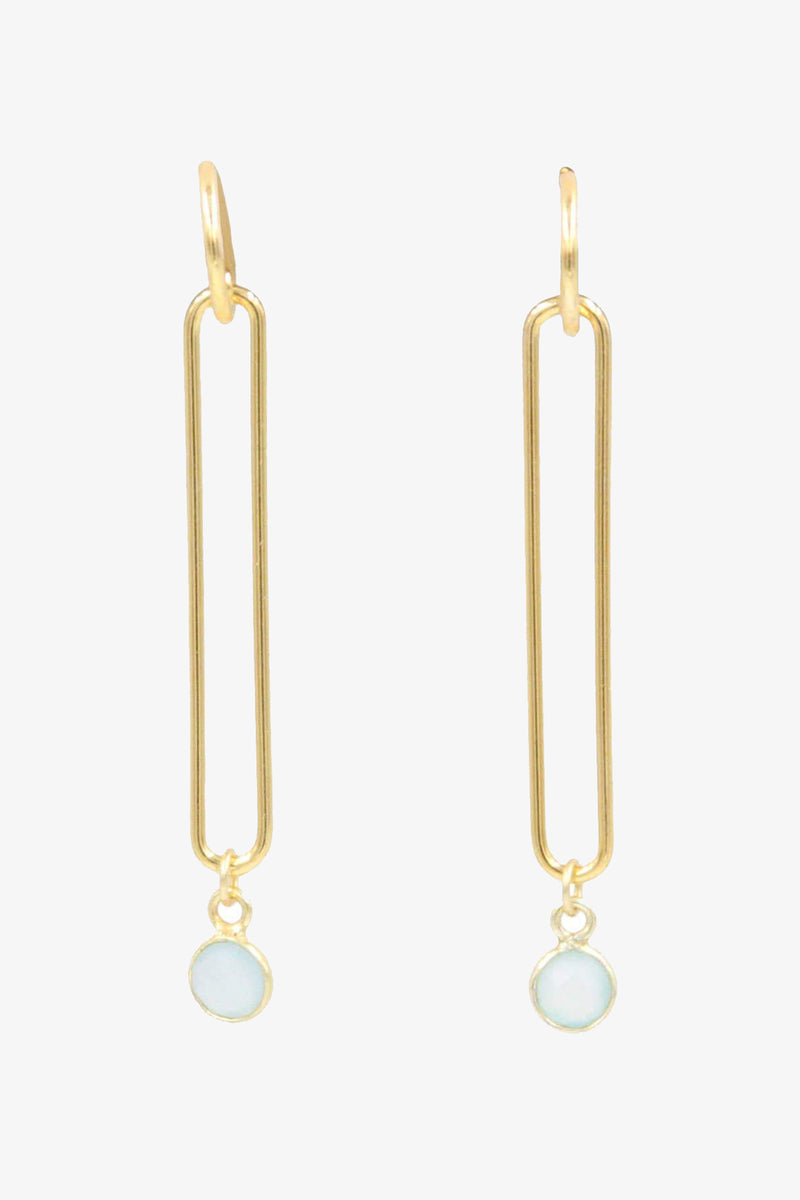 Looper Gold + Green Chalcedony Earrings