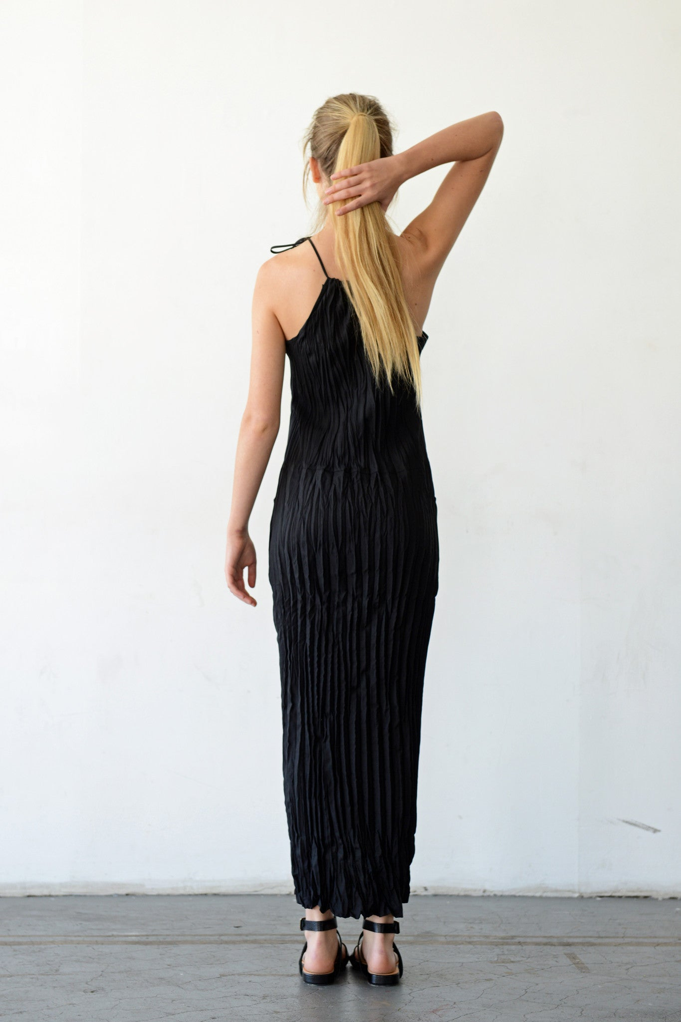 Twisted Maxi Halter Dress in Black