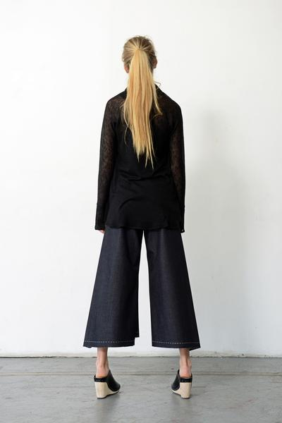Step Stitch Crop Pant in Dark Denim