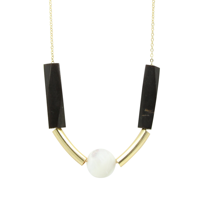 Amaia Mother of Pearl and Horn Bead Necklace