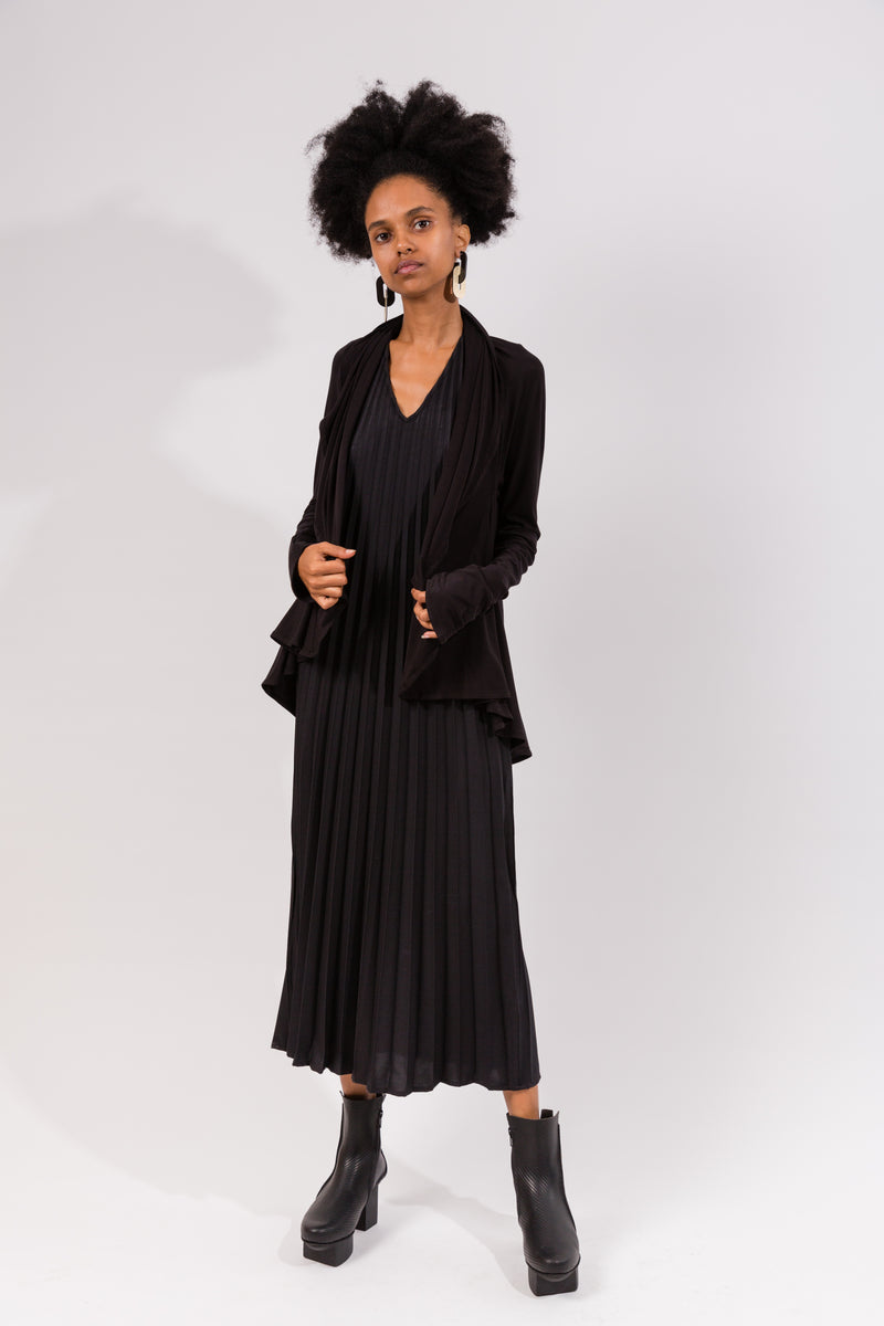 Circle Cardigan in Black Bamboo Viscose
