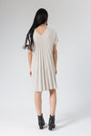 cream v-neck dress