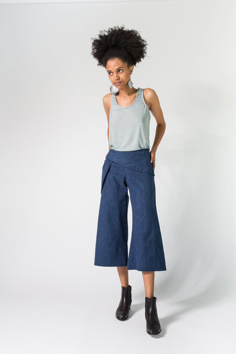 SALE Drop Pocket Gaucho in Brushed Denim