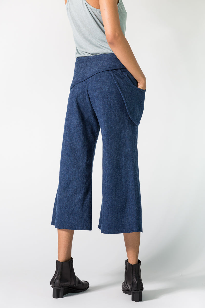 Drop Pocket Gaucho in Brushed Denim