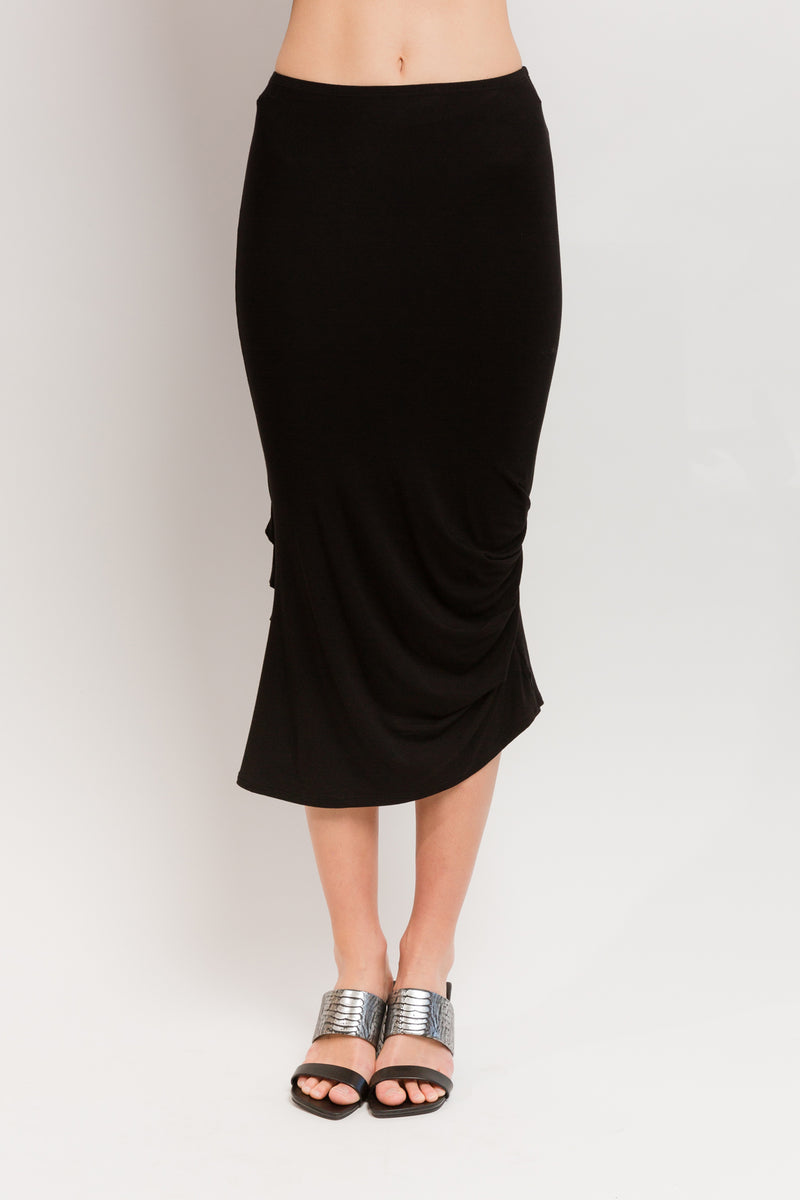 Caterpillar Long Skirt in Black Bamboo Viscose