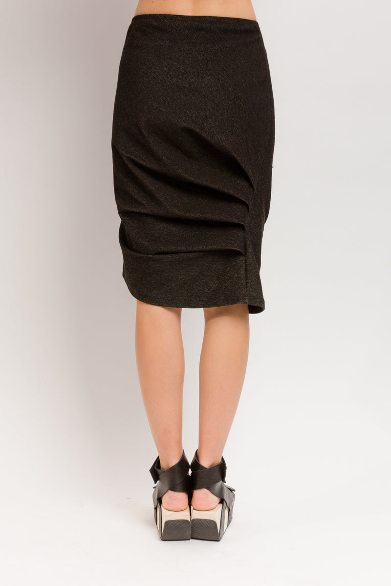 Caterpillar Knee Skirt in Organic Cotton Denim