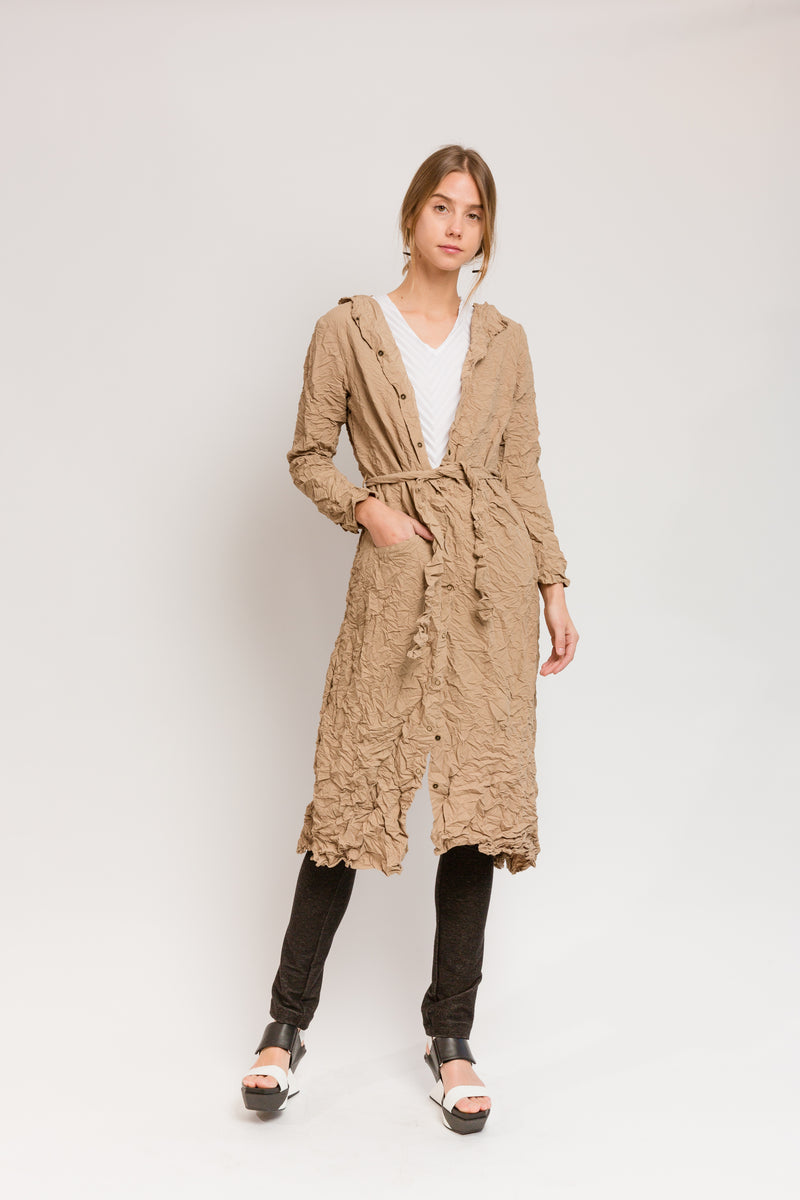 khaki hooded trench coat