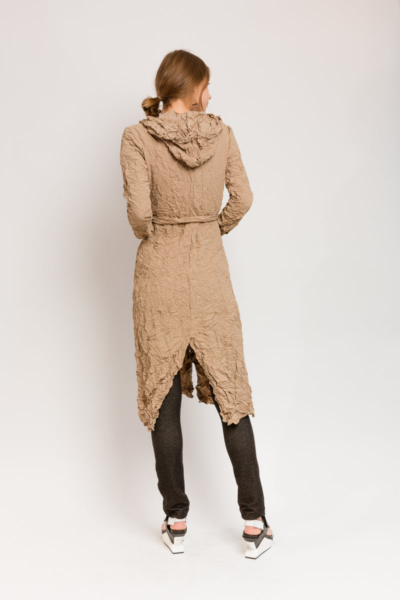 tan hooded trench coat