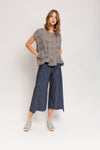 Step Stitch Crop Pant in Striated Denim