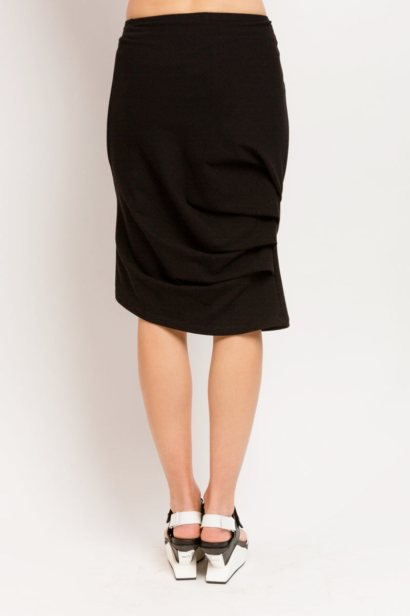 Caterpillar Knee Skirt in Black Soy French Terry