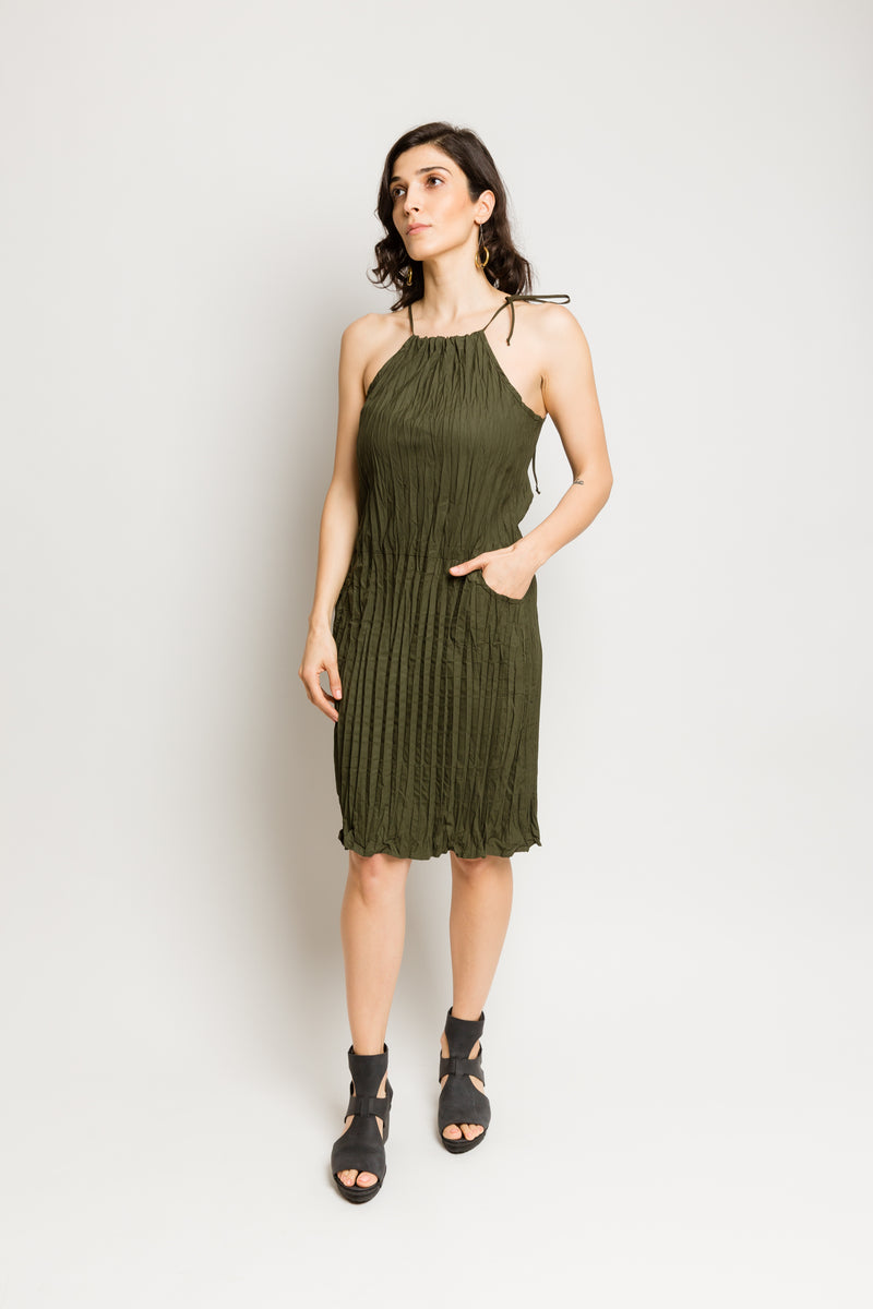 Twisted Finn Halter Dress in Poplin