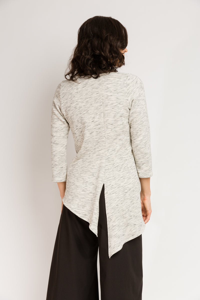 3/4 Sleeve Trapezoid Tunic in Organic Cotton Melange