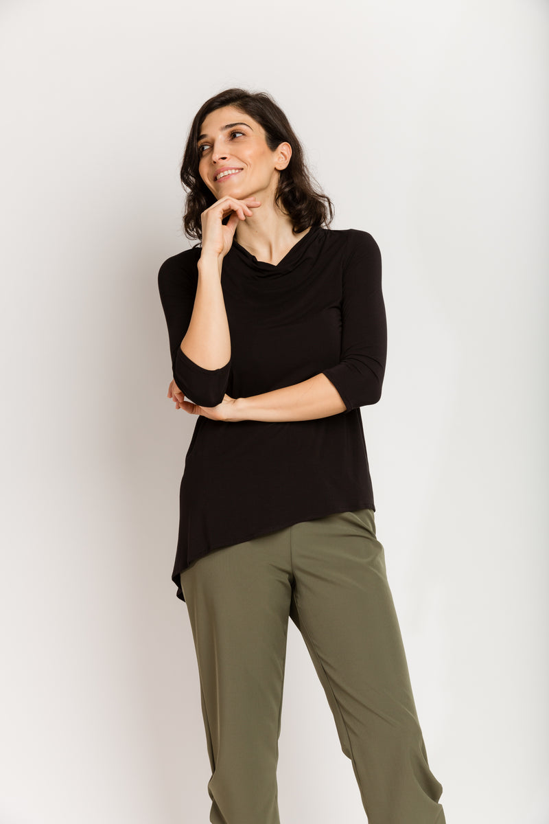 Trapezoid Tunic in Black Bamboo