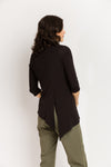 3/4 Sleeve Trapezoid Tunic in Black Bamboo