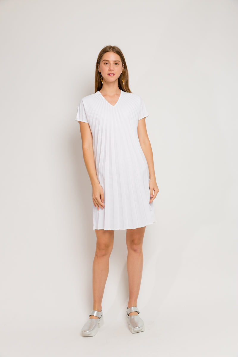 white v-neck short dress