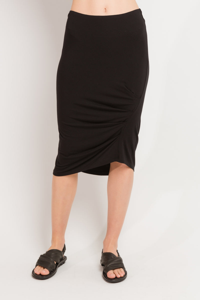 Caterpillar Knee Skirt in Black Bamboo