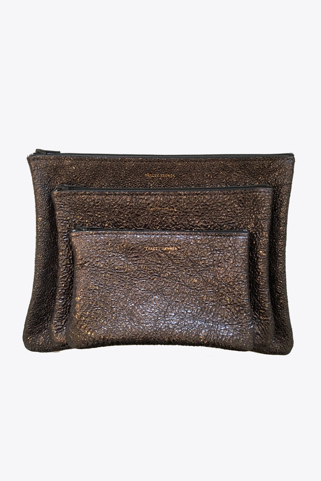 Leather Zip Pouches in Crinkle Gravel