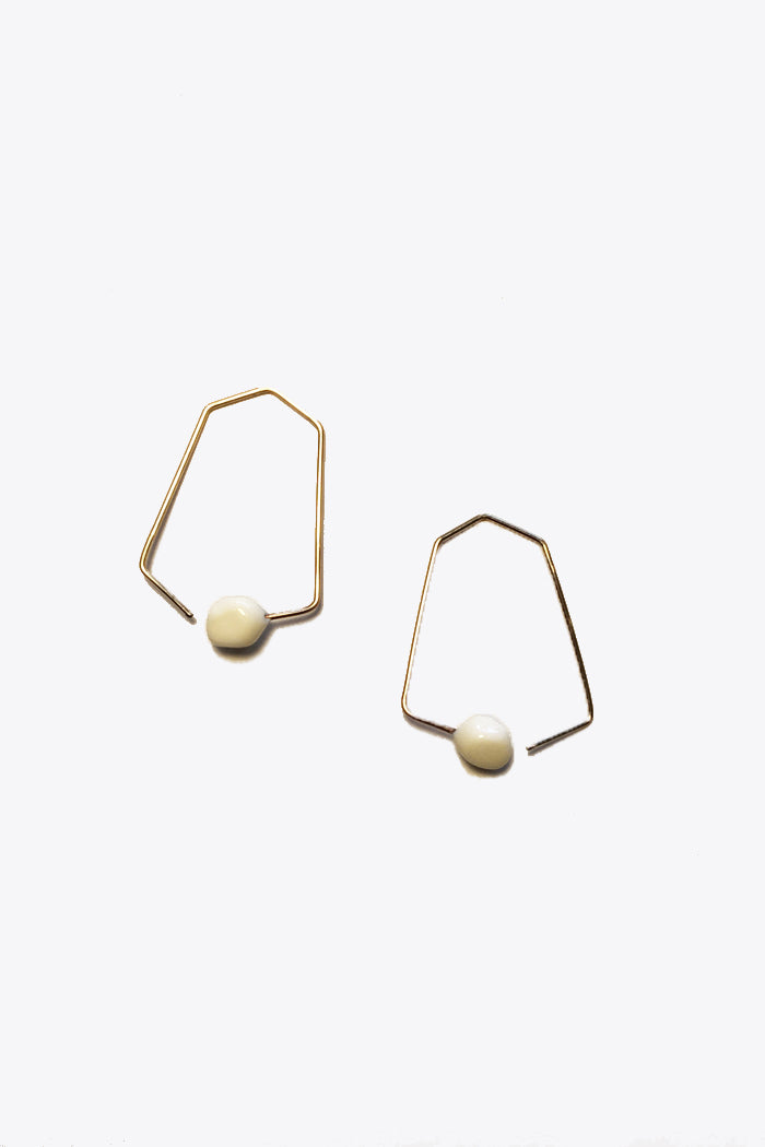Small Hexagon Earrings in White