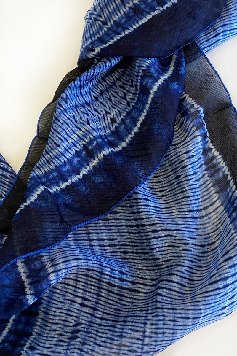 Shibori Dyed Silk Scarf in Indigo & White