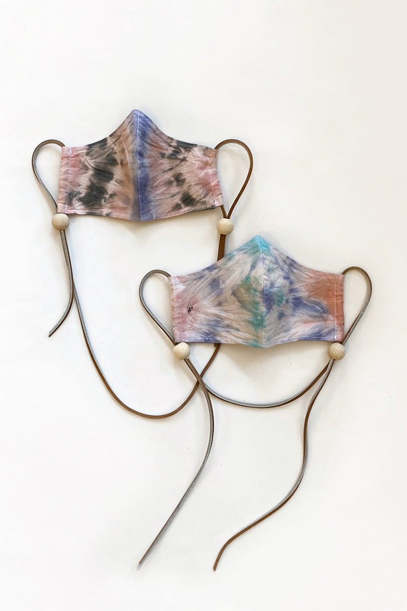 Tie Dye Muslin + Leather Face Masks (Medium)