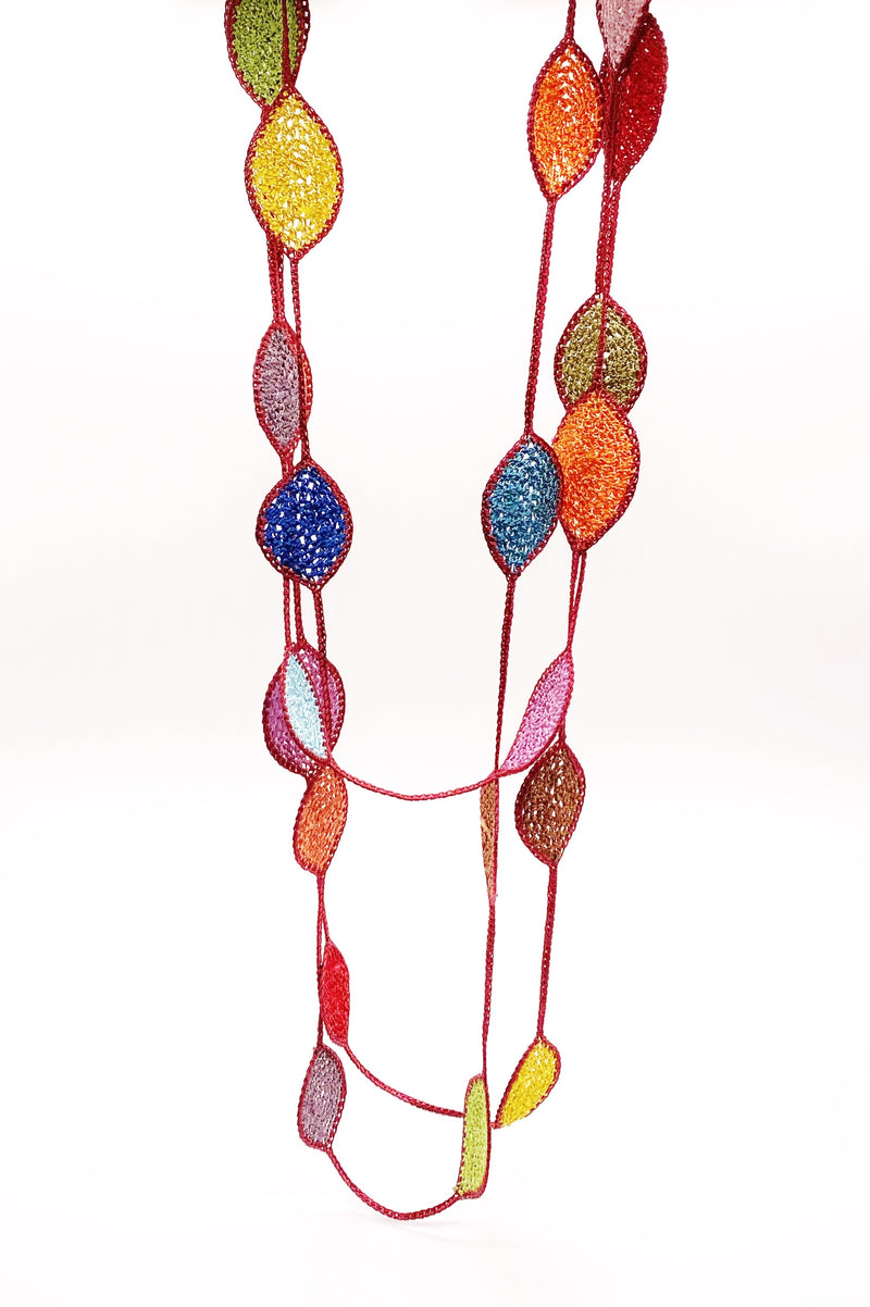Long Oval Leaf Necklace in Red/Multi