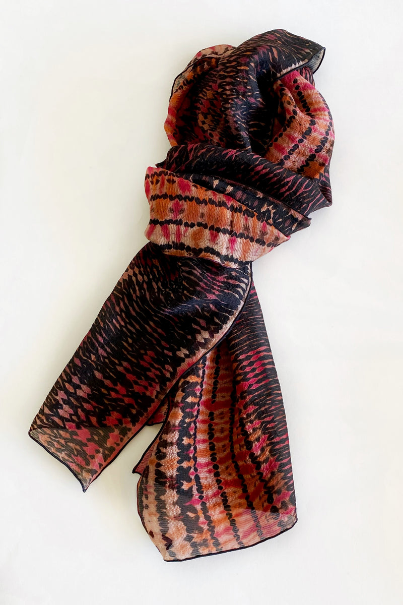 Shibori Dyed Silk Scarf in Black, Rust & Cranberry