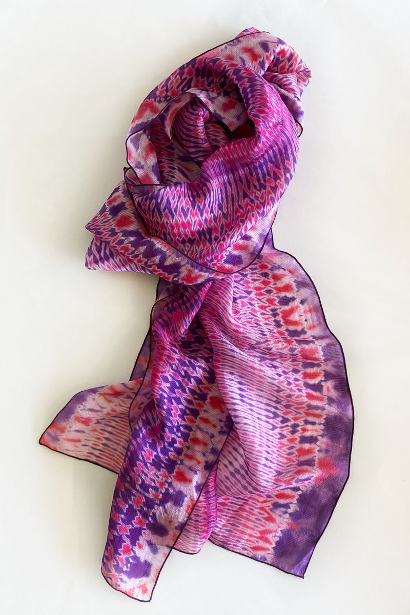Shibori Dyed Silk Scarf in Purple & Pink