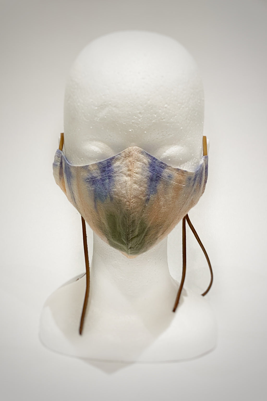 Tie Dye Muslin + Leather Face Masks (Large)