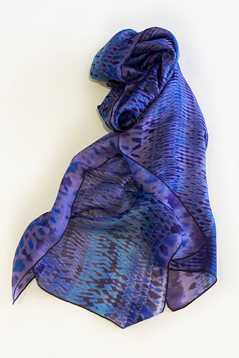 Shibori Dyed Silk Scarf in Purple & Blue