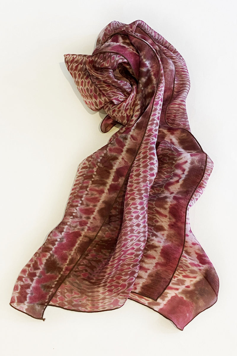 Shibori Dyed Silk Scarf in Brown & Pink