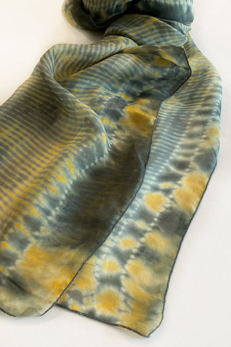 Shibori Dyed Silk Scarf in Green & Yellow