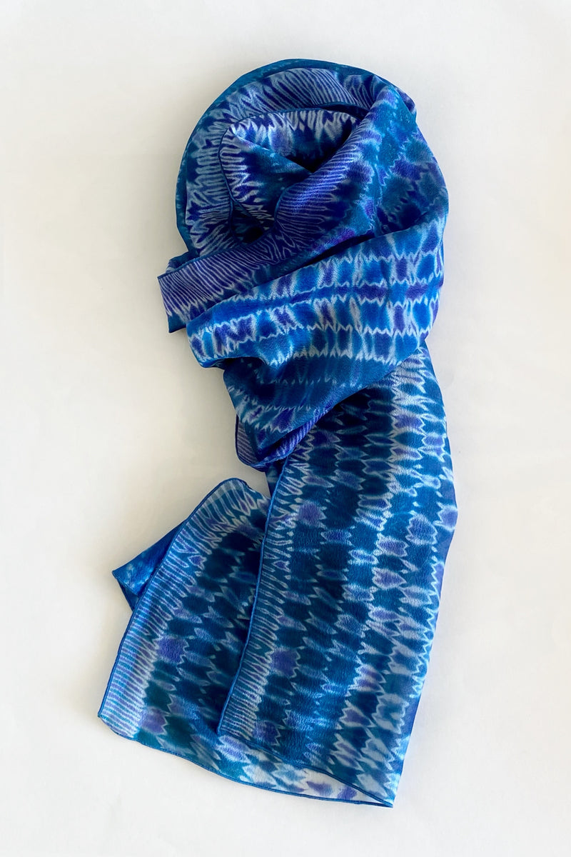 Shibori Dyed Silk Scarf in Azure Blue