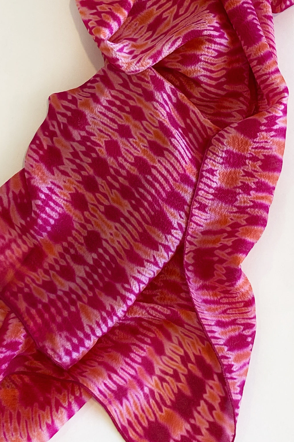 Shibori Dyed Silk Scarf in Fuschia Peach Crepe
