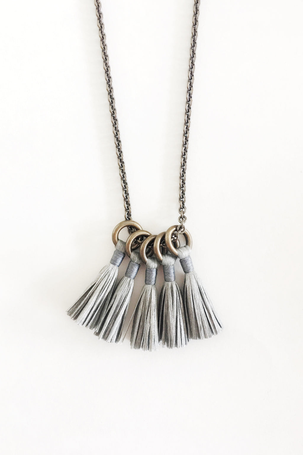 Silk Tassel Necklace in Platinum