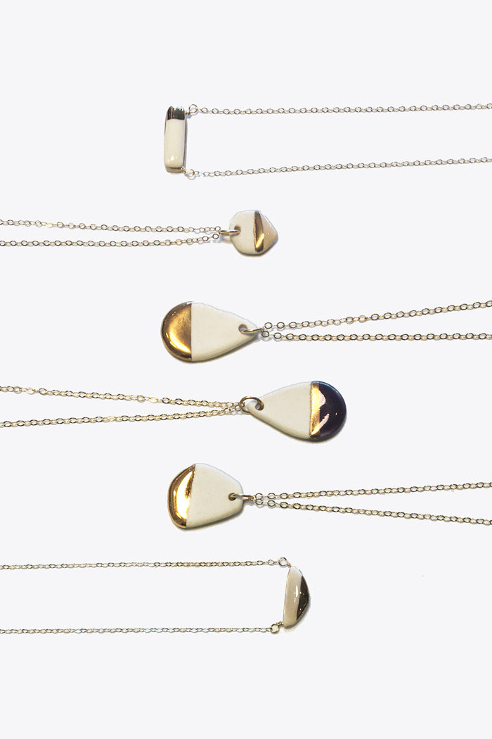 Porcelain & Gold Necklaces