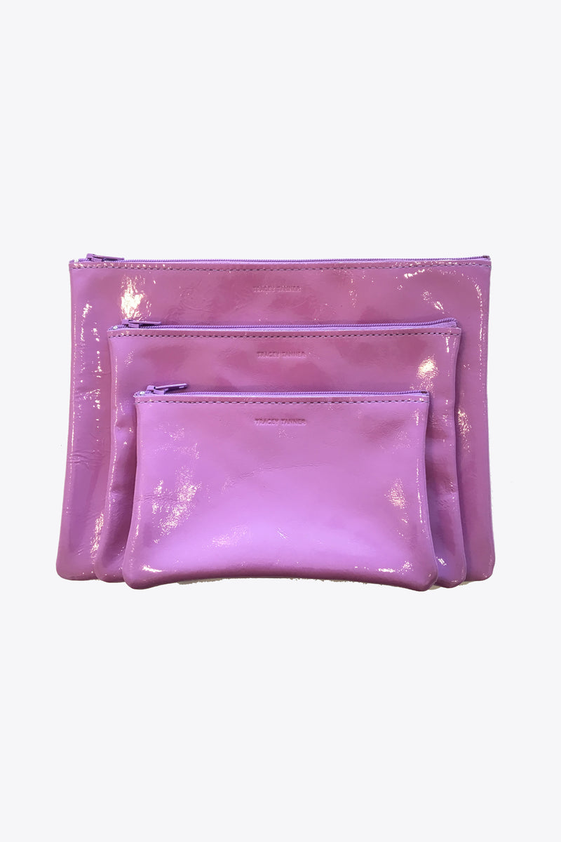 Leather Zip Pouches in Patent Lilac