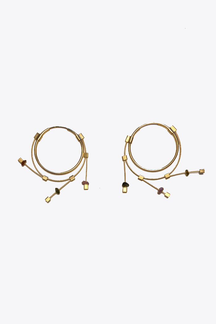 MPR Small Spring Hoops in Tourmaline/Gold