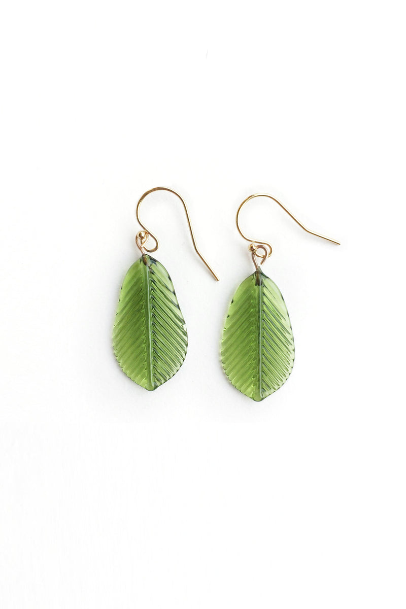 Glass Feather Earrings