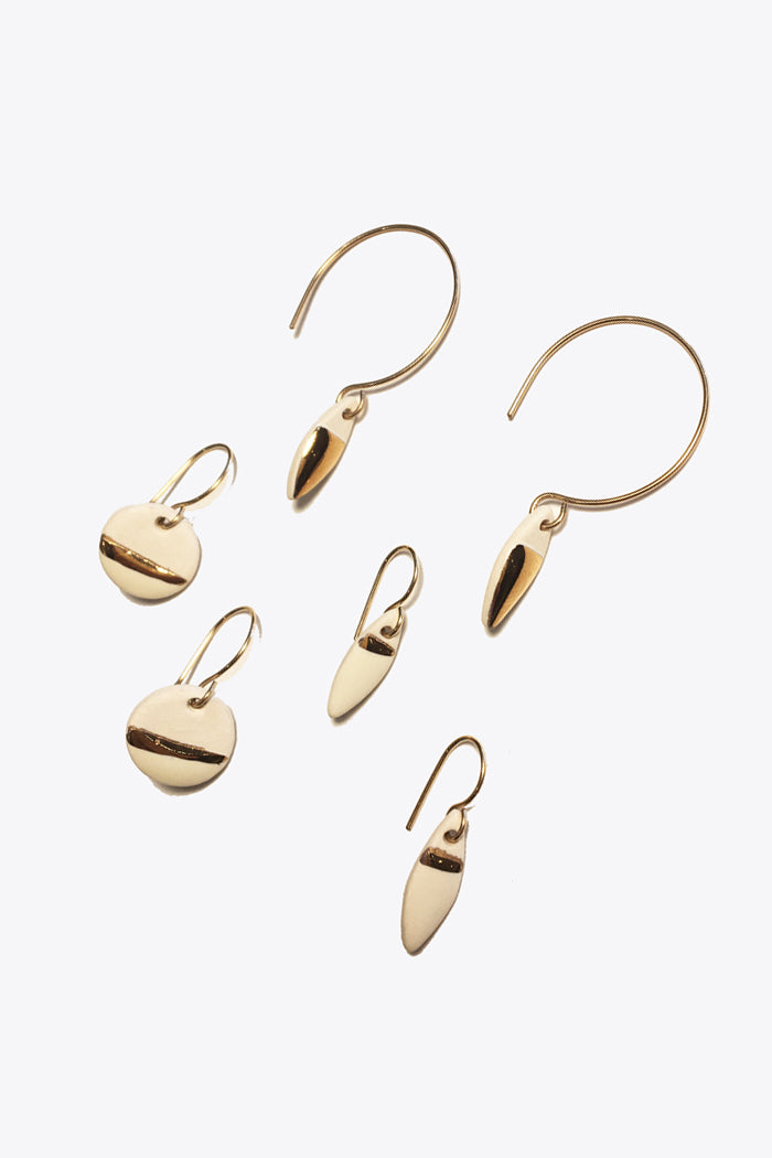 Porcelain & Gold Drop Earrings
